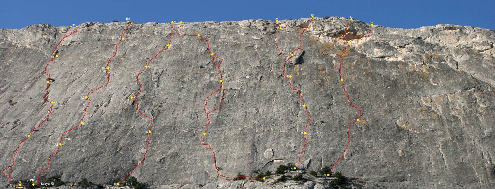 Обозначенные альпинистские маршруты на горе Сокол в Судаке